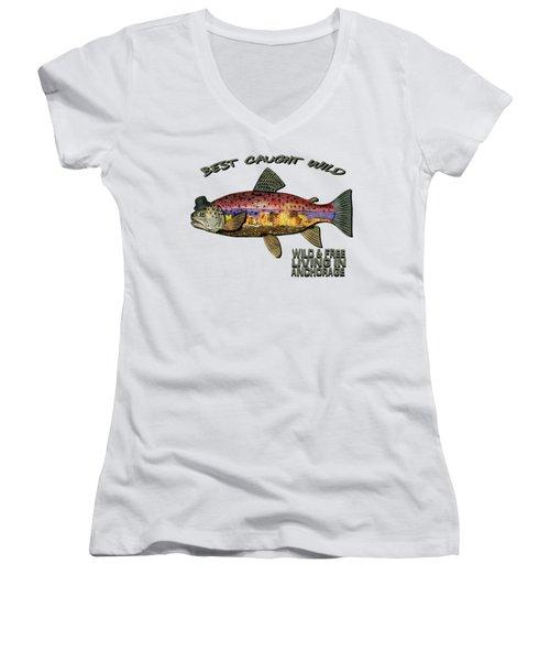 Fishing - Best Caught Wild On Light Women's V-Neck T-Shirt (Junior Cut) by Elaine Ossipov