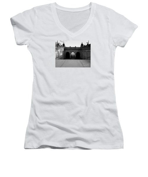 Bethesda Terrace In Central Park - Bw Women's V-Neck (Athletic Fit)
