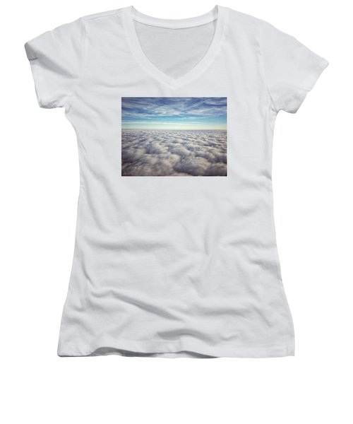 Women's V-Neck featuring the photograph Between Heaven And Earth by Andrea Platt