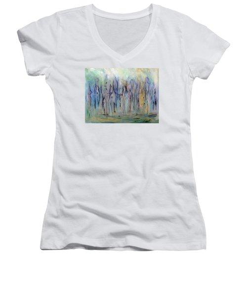 Between Horse And Men Women's V-Neck T-Shirt (Junior Cut) by Roberta Rotunda