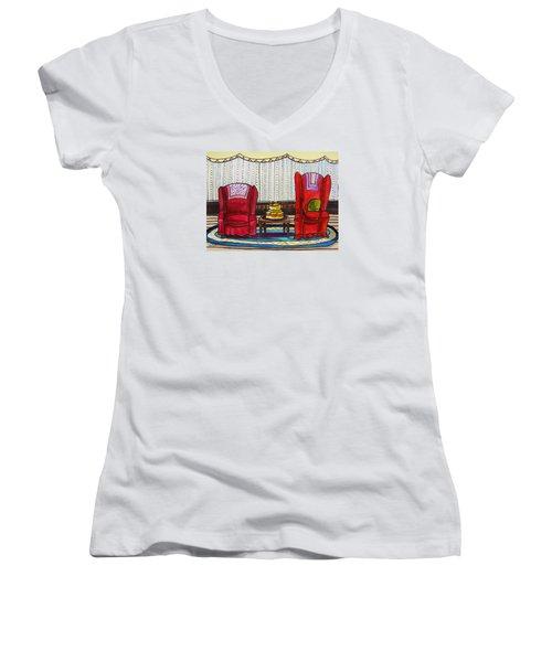 Between Two Reds Women's V-Neck T-Shirt (Junior Cut) by John Williams