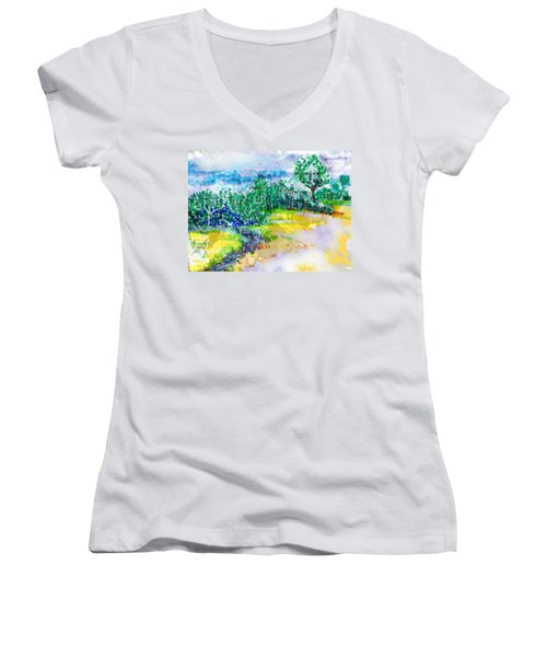 Women's V-Neck T-Shirt (Junior Cut) featuring the drawing Beyond The Clouds by Seth Weaver