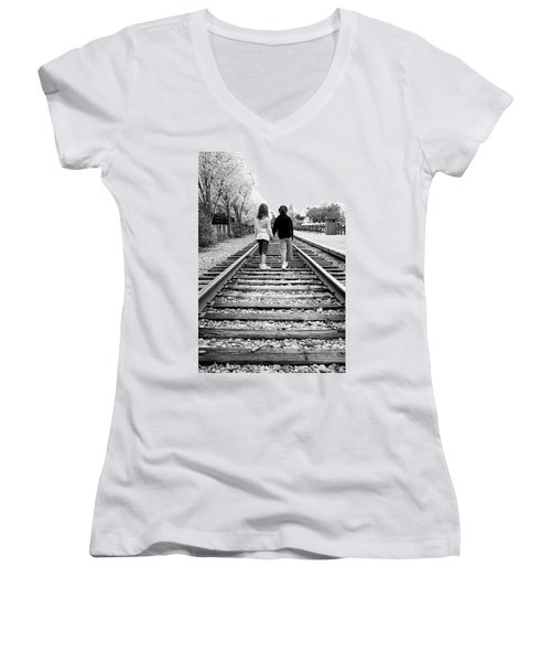 Women's V-Neck T-Shirt (Junior Cut) featuring the photograph Bff's by Greg Fortier