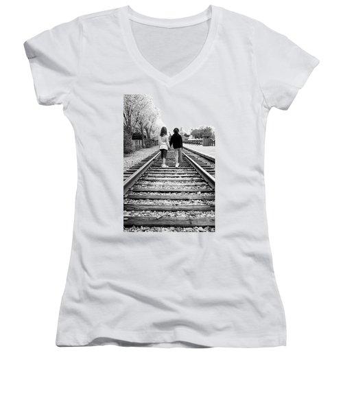 Bff's Women's V-Neck T-Shirt (Junior Cut) by Greg Fortier