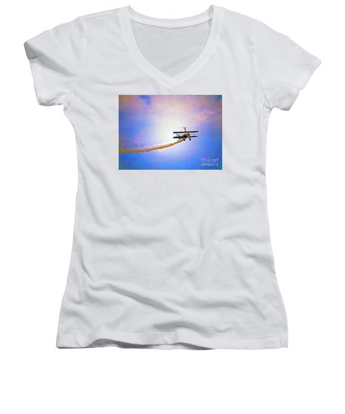 Bi-plane And Wing Walker Women's V-Neck (Athletic Fit)