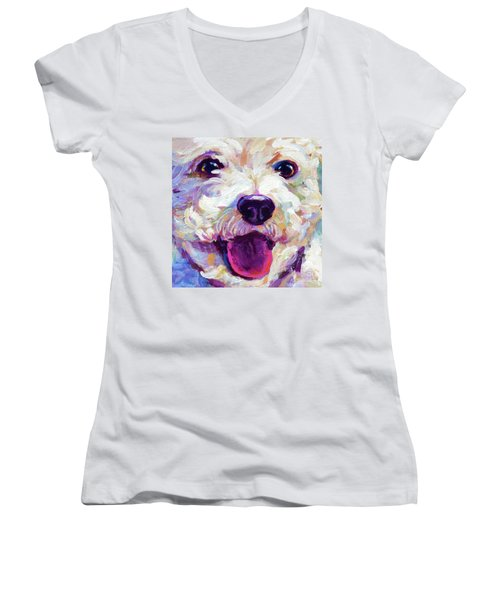Women's V-Neck T-Shirt (Junior Cut) featuring the painting Bichon Frise Face by Robert Phelps
