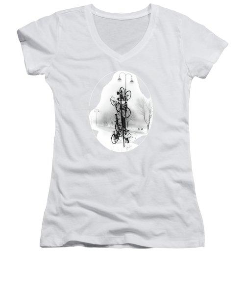 Bicycle Lamppost In Winter Women's V-Neck T-Shirt (Junior Cut) by Menega Sabidussi