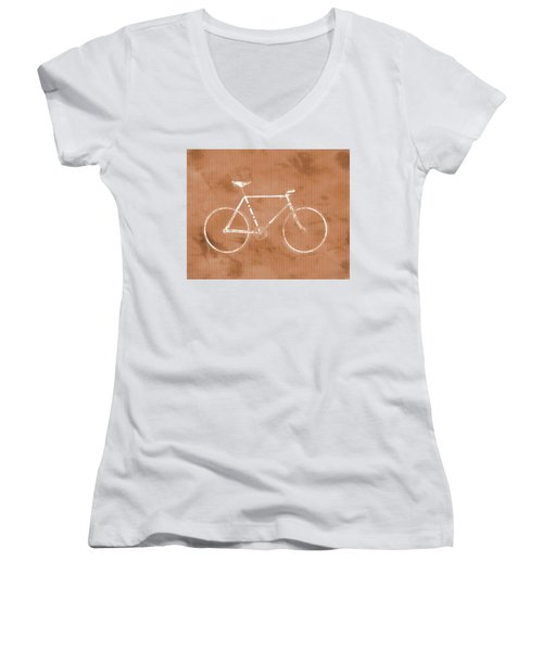 Bicycle On Tile Women's V-Neck T-Shirt (Junior Cut) by Dan Sproul