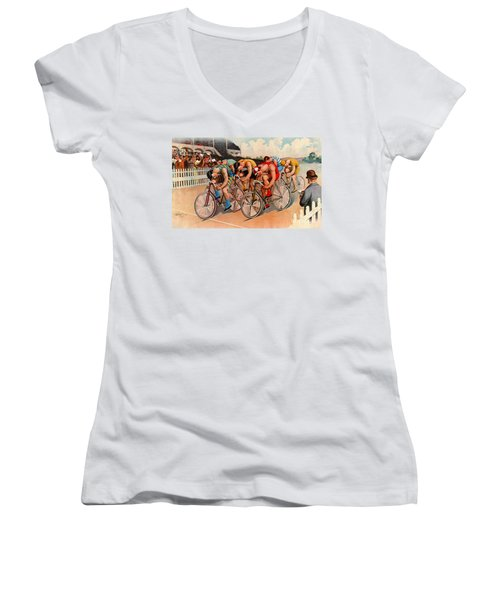 Bicycle Race 1895 Women's V-Neck T-Shirt