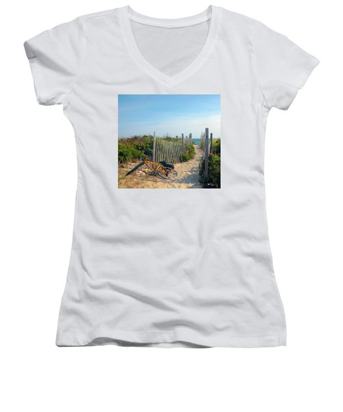 Women's V-Neck T-Shirt (Junior Cut) featuring the photograph Bicycle Rest by Madeline Ellis