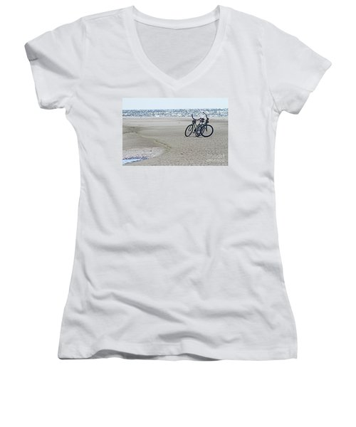 Bicycles On The Beach Women's V-Neck