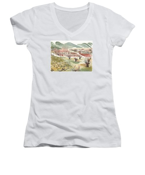 Bicycling Through Vineyards Women's V-Neck T-Shirt (Junior Cut)