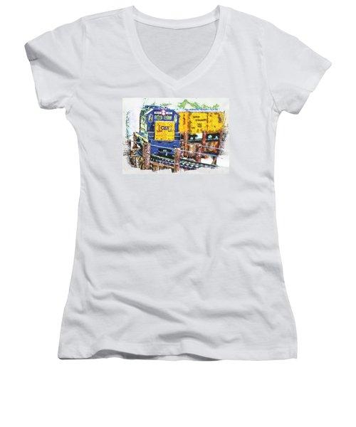 Women's V-Neck T-Shirt (Junior Cut) featuring the photograph Big Bend by Robert Pearson