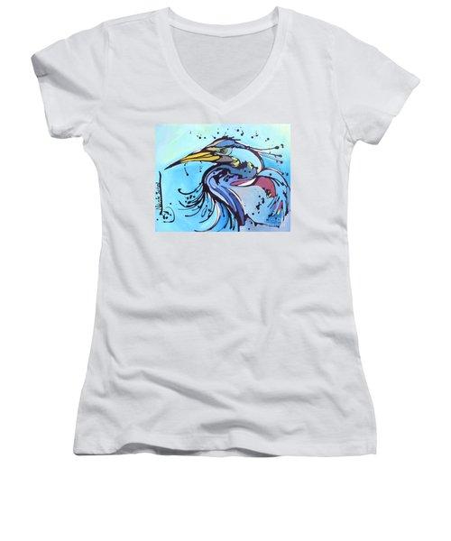 Big Blue Women's V-Neck T-Shirt (Junior Cut) by Nicole Gaitan