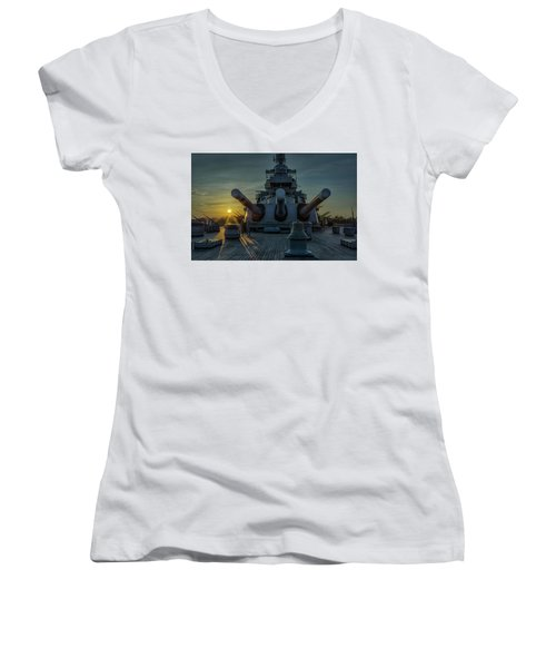 Big Guns At Sunset Women's V-Neck T-Shirt (Junior Cut) by Denis Lemay