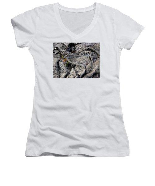 Big Island Lava Flow Women's V-Neck T-Shirt (Junior Cut) by Amelia Racca