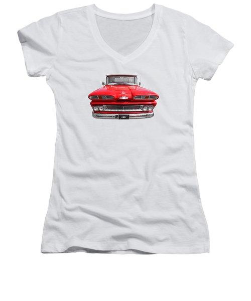 Big Red - 1960 Chevy Women's V-Neck T-Shirt (Junior Cut) by Gill Billington