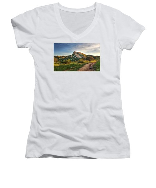 Big Rock Women's V-Neck T-Shirt (Junior Cut) by Endre Balogh