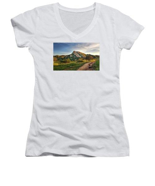 Big Rock Women's V-Neck T-Shirt (Junior Cut) by Endre Balogh