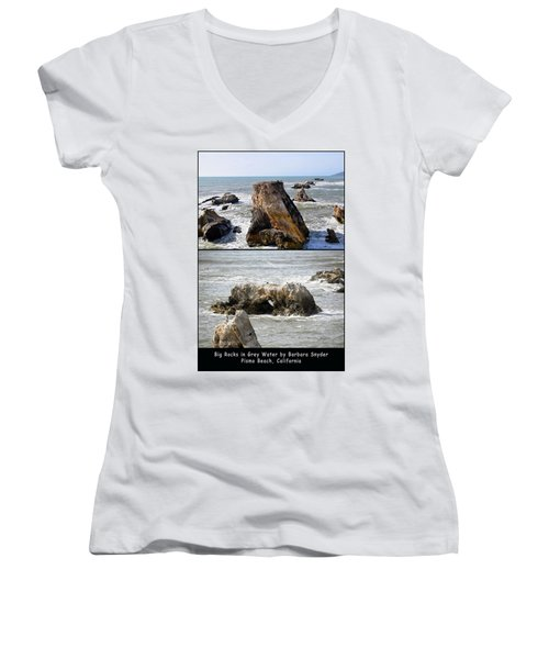 Women's V-Neck T-Shirt (Junior Cut) featuring the photograph Big Rocks In Grey Water Duo by Barbara Snyder