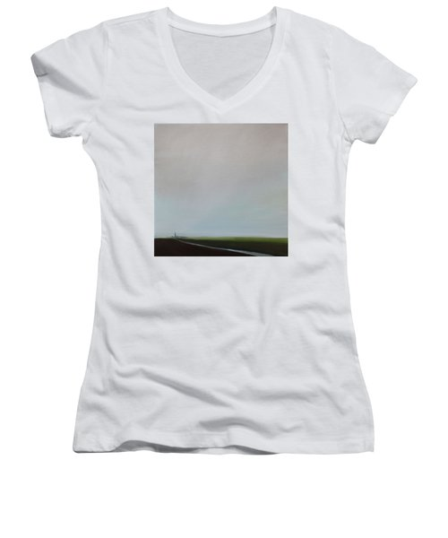 Women's V-Neck T-Shirt (Junior Cut) featuring the painting Big Sky by Tone Aanderaa
