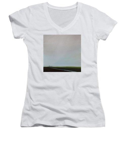 Big Sky Women's V-Neck T-Shirt (Junior Cut) by Tone Aanderaa