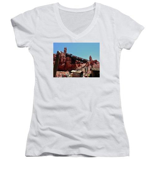 Big Thunder Mountain Walt Disney World Mp Women's V-Neck T-Shirt (Junior Cut) by Thomas Woolworth