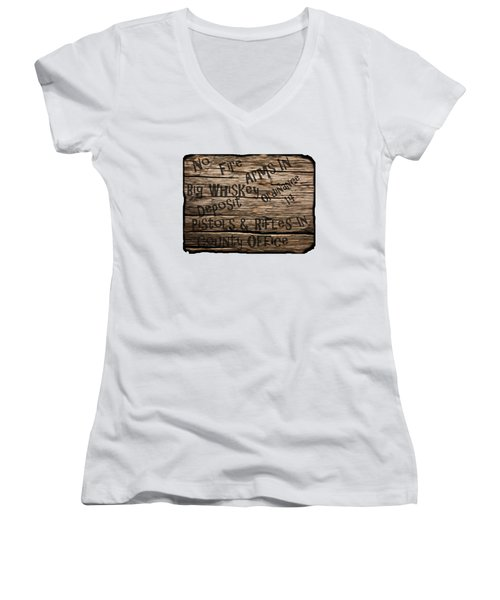 Big Whiskey Fire Arm Sign Women's V-Neck T-Shirt