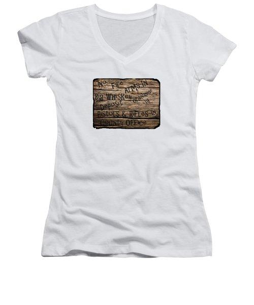 Big Whiskey Fire Arm Sign Women's V-Neck T-Shirt