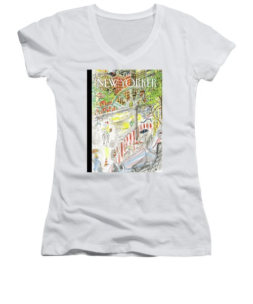 Biking In The Rain Women's V-Neck