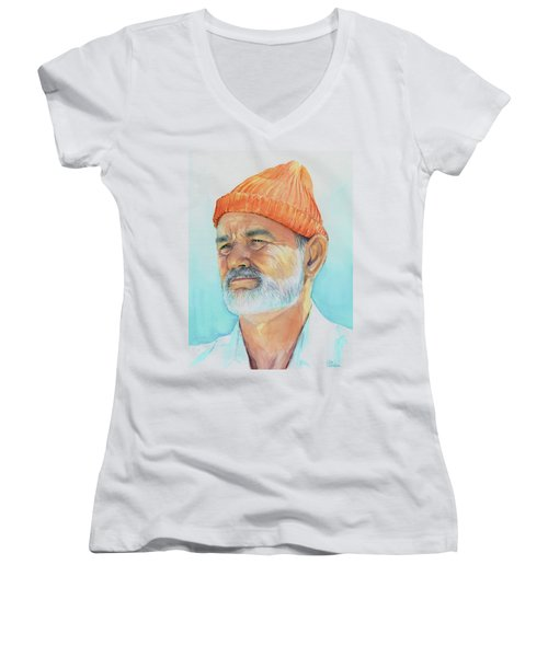 Bill Murray Steve Zissou Life Aquatic Women's V-Neck (Athletic Fit)