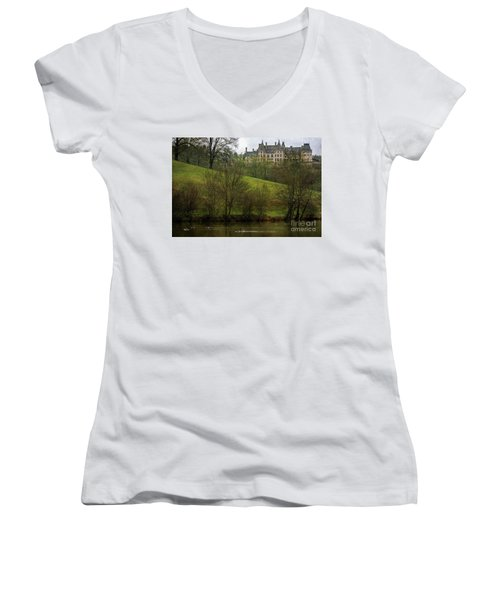 Biltmore Estate At Dusk Women's V-Neck T-Shirt
