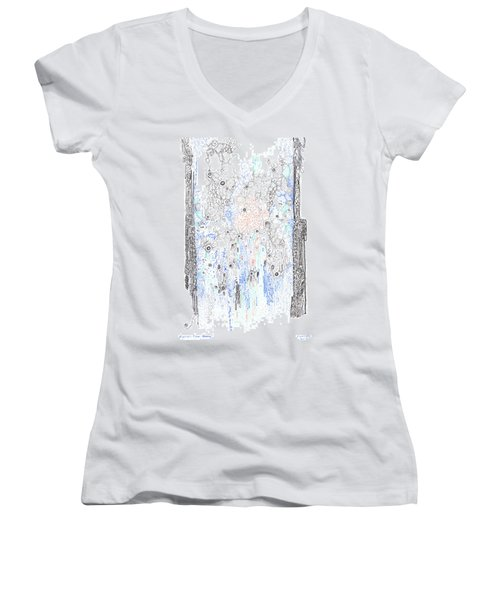 Bingham Fluid Or Paste Women's V-Neck T-Shirt (Junior Cut) by Regina Valluzzi