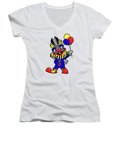 Binky The Bunny Clown Women's V-Neck T-Shirt (Junior Cut) by Bizarre Bunny