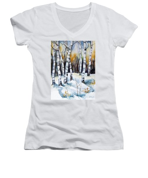 Women's V-Neck T-Shirt (Junior Cut) featuring the painting The White Of Winter Birch by Inese Poga