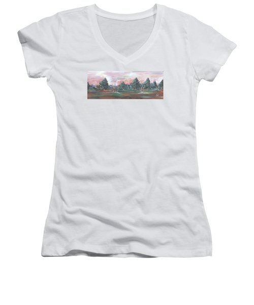 Women's V-Neck T-Shirt (Junior Cut) featuring the painting Birch Grove by Pat Purdy
