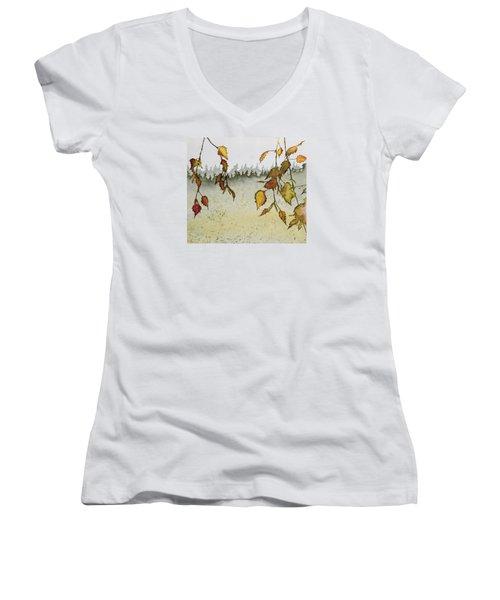 Birch In Autumn Women's V-Neck T-Shirt (Junior Cut) by Carolyn Doe