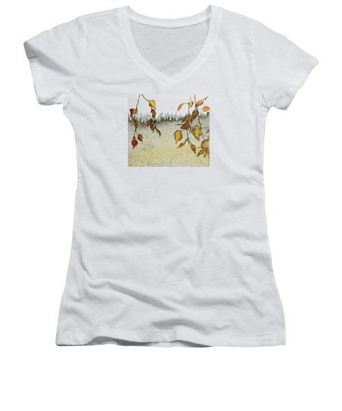 Birch In Autumn Women's V-Neck T-Shirt