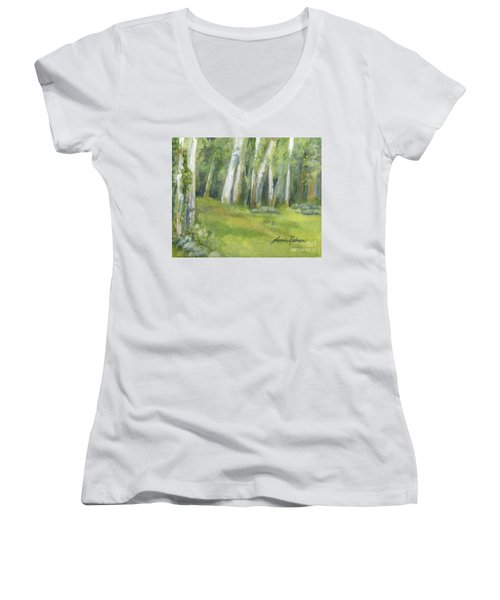Birch Trees And Spring Field Women's V-Neck (Athletic Fit)