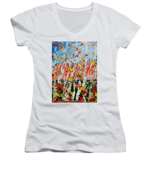 Birch With Foilage - Fall Women's V-Neck T-Shirt