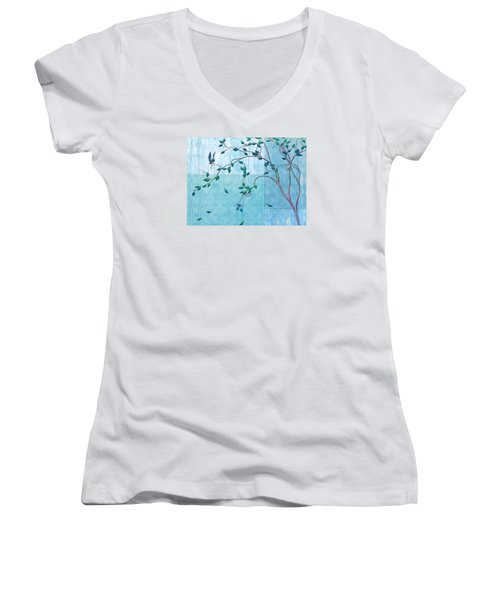 Bird In A Tree-2 Women's V-Neck T-Shirt (Junior Cut) by Nina Bradica