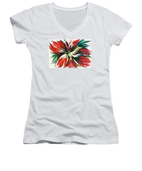 Women's V-Neck T-Shirt (Junior Cut) featuring the painting Bird Of Haven by Laila Awad Jamaleldin