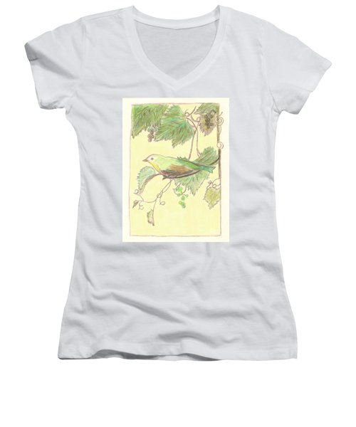Bird On A Branch Women's V-Neck (Athletic Fit)