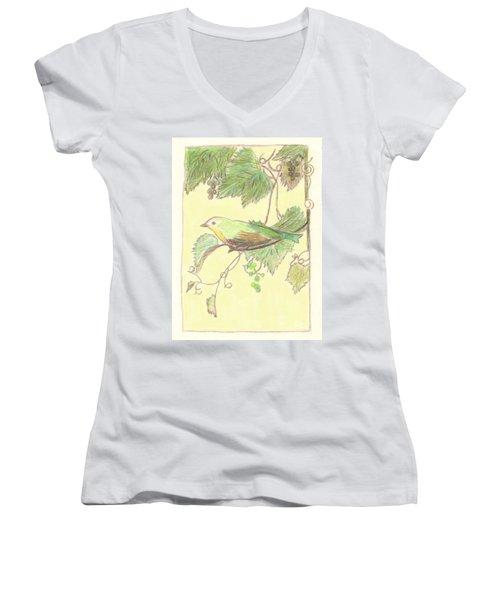 Bird On A Branch Women's V-Neck