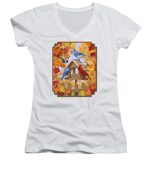 Bird Painting - Autumn Aquaintances Women's V-Neck T-Shirt (Junior Cut) by Crista Forest