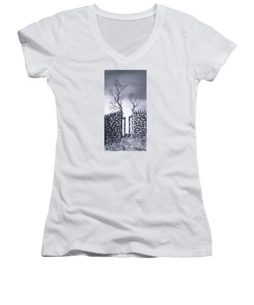 Bird Tree Women's V-Neck T-Shirt (Junior Cut) by Kenneth Clarke
