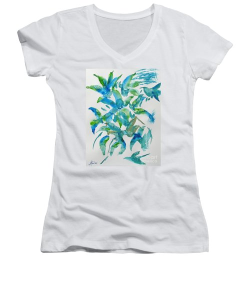 Birds And Blooms Women's V-Neck (Athletic Fit)