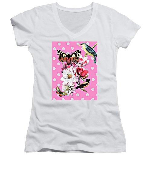 Birds, Flowers Butterflies And Polka Dots Women's V-Neck T-Shirt
