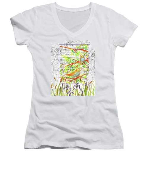 Women's V-Neck T-Shirt (Junior Cut) featuring the painting Bluebirds Nature Collage by Cathie Richardson