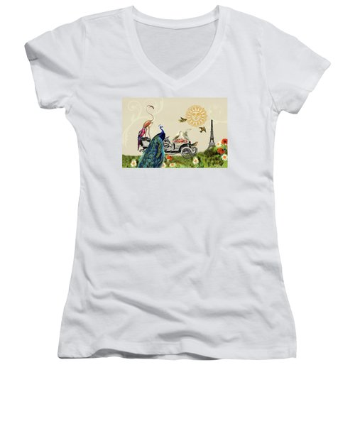 Birds Of A Feather In Paris, France Women's V-Neck